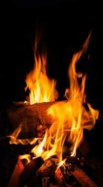close up of bonfire at night